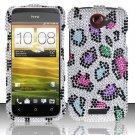 Hard Rhinestone Design Case for HTC One S (T-Mobile) - Colorful Leopard