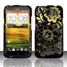 Hard Rubber Feel Design Case for HTC One X (AT&T) - Golden Flowers