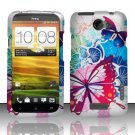 Hard Rubber Feel Design Case for HTC One X (AT&T) - Spring Butterflies