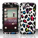 Hard Rubber Feel Design Case for HTC Rhyme (Verizon) - Colorful Leopard