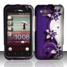 Hard Rubber Feel Design Case for HTC Rhyme (Verizon) - Purple Vines