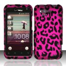Hard Rubber Feel Design Case for HTC Rhyme (Verizon) - Pink Leopard