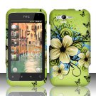 Hard Rubber Feel Design Case for HTC Rhyme (Verizon) - Hawaiian Flowers