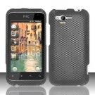 Hard Rubber Feel Design Case for HTC Rhyme (Verizon) - Carbon Fiber