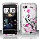 Hard Rubber Feel Design Case for HTC Sensation 4G (T-Mobile) - Pink Garden