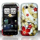 Hard Rubber Feel Design Case for HTC Sensation 4G (T-Mobile) - Red Flowers