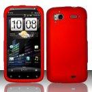 Hard Rubber Feel Plastic Case for HTC Sensation 4G (T-Mobile) - Red