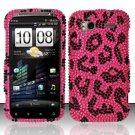 Hard Rhinestone Design Case for HTC Sensation 4G (T-Mobile) - Pink Leopard