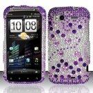 Hard Rhinestone Design Case for HTC Sensation 4G (T-Mobile) - Purple Gems