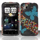 Hard Rhinestone Design Case for HTC Sensation 4G (T-Mobile) - Blue Butterfly