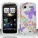 Hard Rhinestone Design Case for HTC Sensation 4G (T-Mobile) - Purple Butterfly