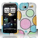 Hard Rhinestone Design Case for HTC Sensation 4G (T-Mobile) - Rainbow Dots