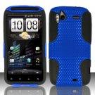 Hybrid Silicone/Plastic Mesh Case for HTC Sensation 4G (T-Mobile) - Blue