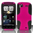 Hybrid Silicone/Plastic Mesh Case for HTC Sensation 4G (T-Mobile) - Pink