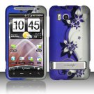 Hard Rubber Feel Design Case for HTC ThunderBolt 4G (Verizon) - Purple Vines