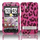 Hard Rhinestone Design Case for HTC ThunderBolt 4G (Verizon) - Pink Leopard