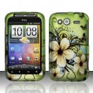 Hard Rubber Feel Design Case for HTC Wildfire S - Hawaiian Flowers