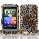 Hard Rhinestone Design Case for HTC Wildfire S - Cheetah