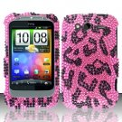 Hard Rhinestone Design Case for HTC Wildfire S - Pink Leopard
