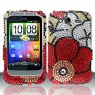 Hard Rhinestone Design Case for HTC Wildfire S - Fall Flowers
