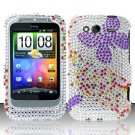 Hard Rhinestone Design Case for HTC Wildfire S - Purple Butterfly