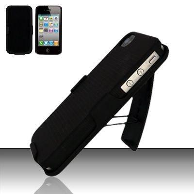 Hard Rubber Feel Holster Combo Case for Apple iPhone 4/4S - Black
