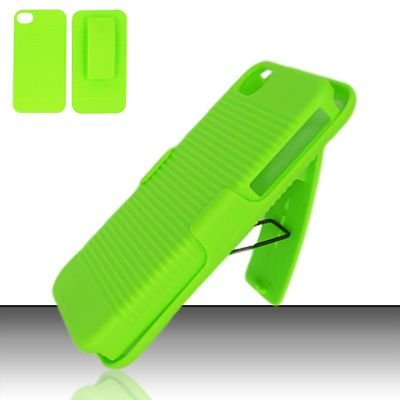 Hard Rubber Feel Holster Combo Case for Apple iPhone 4/4S - Green