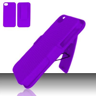 Hard Rubber Feel Holster Combo Case for Apple iPhone 4/4S - Purple
