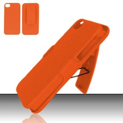 Hard Rubber Feel Holster Combo Case for Apple iPhone 4/4S - Orange