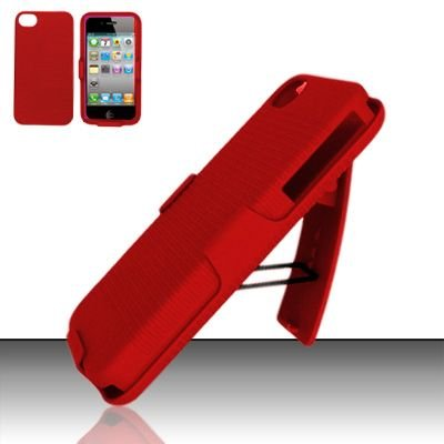 Hard Rubber Feel Holster Combo Case for Apple iPhone 4/4S - Red