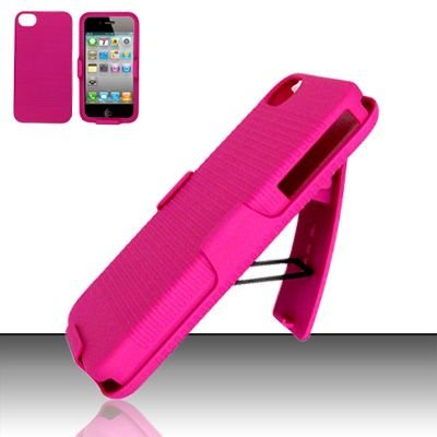 Hard Rubber Feel Holster Combo Case for Apple iPhone 4/4S - Pink