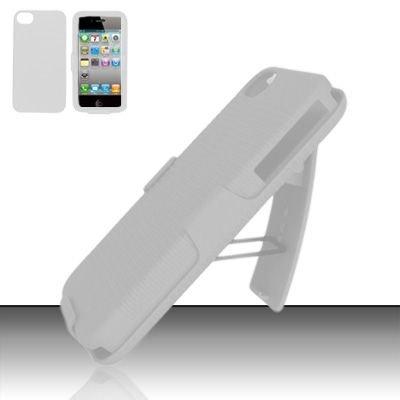 Hard Rubber Feel Holster Combo Case for Apple iPhone 4/4S - White
