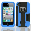 Heavy Duty Armor Case + Bottle Opener/Kickstand/Credit Card Slots for Apple iPhone 4/4S - Blue