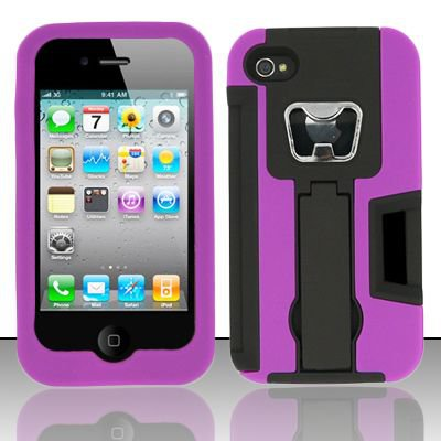 Heavy Duty Armor Case + Bottle Opener/Kickstand/Credit Card Slots for Apple iPhone 4/4S - Purple