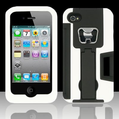 Heavy Duty Armor Case + Bottle Opener/Kickstand/Credit Card Slots for Apple iPhone 4/4S - White