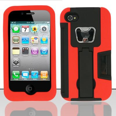 Heavy Duty Armor Case + Bottle Opener/Kickstand/Credit Card Slots for Apple iPhone 4/4S - Red