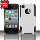 Hybrid Silicone/Plastic Mesh Case for Apple iPhone 4/4S - White