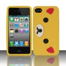 Soft Premium Silicone Case for Apple iPhone 4/4S - Yellow Bear Cartoon