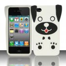 Soft Premium Silicone Case for Apple iPhone 4/4S - White Dog
