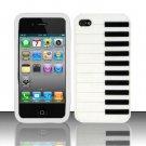 Soft Premium Silicone Case for Apple iPhone 4/4S - White Piano