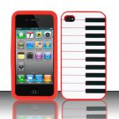 Soft Premium Silicone Case for Apple iPhone 4/4S - Red Piano