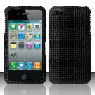 Hard Rhinestone Design Case for Apple iPhone 4/4S - Black