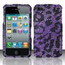 Hard Rhinestone Design Case for Apple iPhone 4/4S - Purple Cheetah