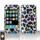 Hard Rubber Feel Design Case for Apple iPhone 3G/3Gs - Colorful Leopard
