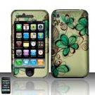 Hard Rubber Feel Design Case for Apple iPhone 3G/3Gs - Azure Flowers