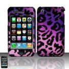 Hard Rubber Feel Design Case for Apple iPhone 3G/3Gs - Purple Cheetah