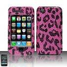 Hard Rhinestone Design Case for Apple iPhone 3G/3Gs - Pink Leopard