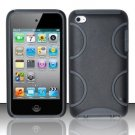 Hard Rubber Feel Silicone Combo Case for Apple iPod Touch 4 - Black Semi-Circles