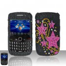 Hard Rhinestone Design Case for Blackberry Curve 8520/9300 - Pink Stars
