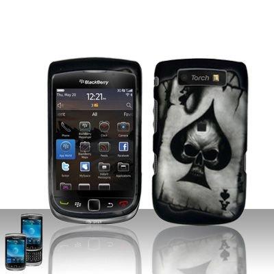 Hard Rubber Feel Design Case for Blackberry Torch 9800 - Spade Skull